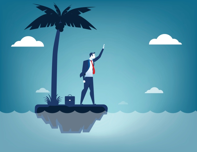 Businessman castaway. Concept business illustration. Vector flat